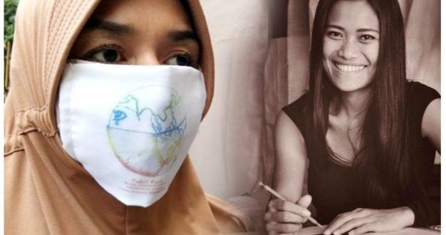 Desainer Migi Rihasalay Bagikan Masker Bola Dunia Menangis